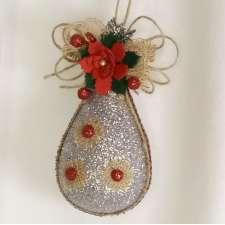 """Новогоднее украшение """"Капля с декором"""" h12см (1шт)"""