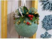 """Новогодний шар с декором """"Мятный приятный"""" Ø12 см (1шт)"""