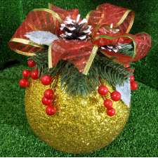 """Новогодний шар с декором """"Золотая традиция"""" Ø15 см (1шт)"""
