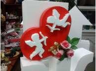 """Декор """"Сердце с ангелами и цветами"""" пенопласт(1шт)"""