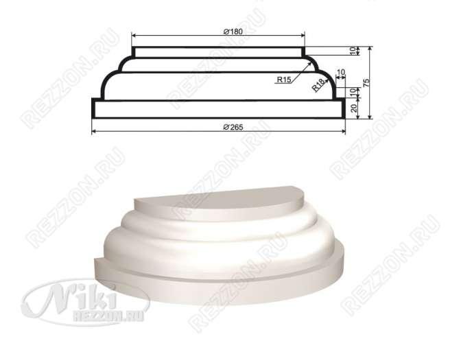 База полуколонны из пенопласта БПКЛ-001 d35/17,5 см (1шт)