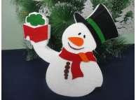 """Декор из пенопласта """"Снеговик с подарком"""" h30см (1шт)"""