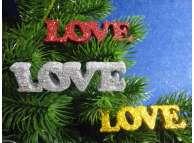 """Декор/блеск """"Love""""2*7см/фанера (набор 3шт)"""