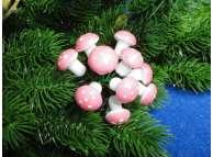 Букетик грибной Мухомор 2см/розовый (10 шт)